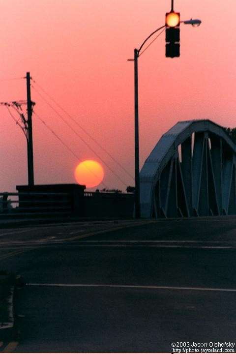 Sunset over the Ford Street bridge in Rochester, NY